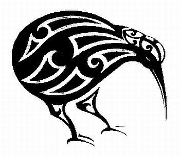 Maori Style Kiwi Bird Black Car Sticker