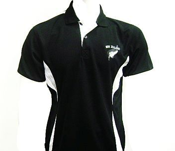 Mens Black Polo with New Zealand Embroidery