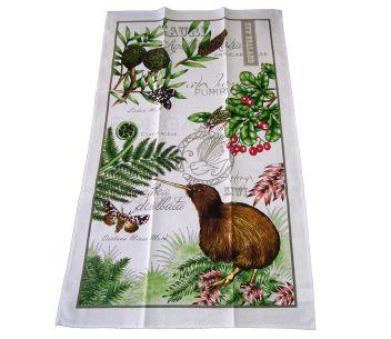 Tea Towel Kiwi with Foliage