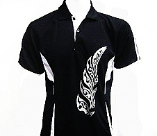 Mens Black Polo with Maori Style Fern