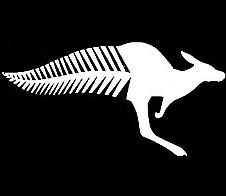 Half 'n' Half; Kangaroo Fern Tail White Car Sticker