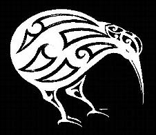 Maori Style Kiwi Bird White Car Sticker