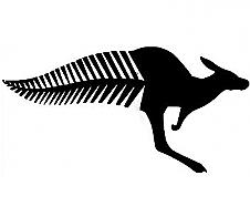 Half 'n' Half; Kangaroo Fern Tail Black Car Sticker