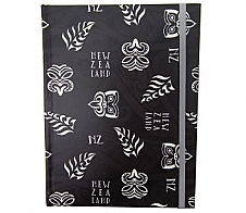Notebook with Tikis and Ferns Black