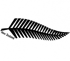 Fern with 'New Zealand' text Black Car Sticker
