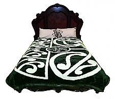 Maori Pattern Green Mink Blanket King