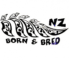 Maori Style NZ Born and Bred Black Car Sticker