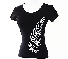 Ladies Black Tee Shirt with Maori Style Fern