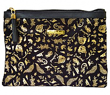 Zip Pouch Black and Gold Birds