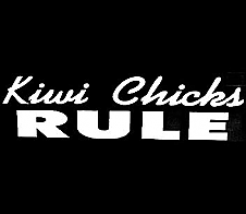 Kiwi Chicks Rule White Car Sticker