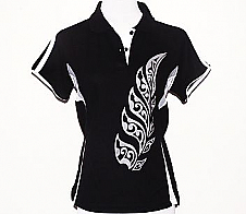 Ladies Black Polo with Maori Style Fern