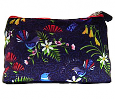 Cosmetic Bag Birds and Flowers Blue