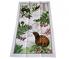 Tea Towel Kiwi with Foliage